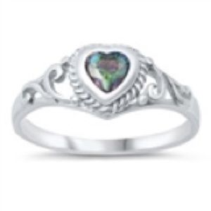 925Sterling Silver BABY Birth Stone Color Cz Ring